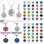 Genuine CZ Crystal 925SILVER Necklace + Silver Earring Sets 18k Xmas