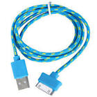 FABRIC BRAIDED CHARGER CABLE power USB data sync FOR apple iphone 4 4S ipod 2 3