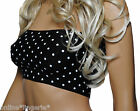 BLACK & WHITE POLKA DOT LYCRA BOOB TUBE TOP PIN UP BANDEAU PARTY BEACH BABE B101