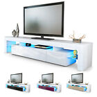 TV Unit Cabinet Stand Lima V2 LED 2 Doors 189cm White High Gloss Wood Oak Effect