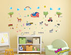 Large Farm & Animals wall stickers (barn,  tractor,  horse,  cow,  hens,  sheep)