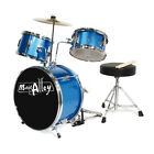 MUSIC ALLEY CHILDRENS JUNIOR 3PC DRUM KIT –BLUE & PURPLE –FREE STOOL & STICKS