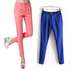 Casual Women OL Pleated Harem Small Feet Trouser Slim Pencil Pants Candy Color
