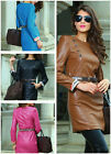 long sleeve party Cocktail Dress Bodycon clubwear office with belt faux leather