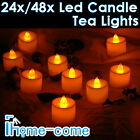 24/48X LED Candle Tea Lights Flickering Battery Powered Christmas Wedding Party