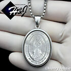 """24""""MEN Stainless Steel 3mm Silver Box Link Chain Necklace VIRGIN MARY Pendant*26"""