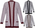 Womens Stripe Print Ladies Long Sleeves Eyelash Open Knit Cardigan Top Plus Size