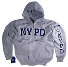 NYPD Shirt Hoodie Sweatshirt Gray With Zipper