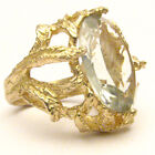 Handmade 14kt Gold Prasiolite Claw Ring 18x13mm 12+ct 11 Grams of Gold