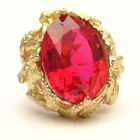 Handmade 14kt Gold Man Made Ruby Claw Ring 18x13mm 12+ct 11 Grams of Gold