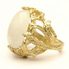 Handmade 14k Gold Moonstone Claw Moonstone Cocktail Ring 18x13mm 12+ct