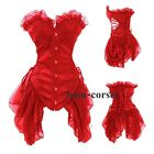 SEXY Basques Moulin Rouge Gothic Red Corset & Skirt Vampire Party Fancy Dress