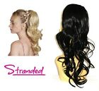 "WAVY PONYTAIL HAIR PIECE DRAWSTRING 18"" LAYERED EXTENSION CHLOE OFF BLACK *1B"