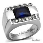 MEN'S EMERALD CUT DARK BLUE MONTANA & CZ SILVER STAINLESS STEEL RING SIZE 8-13