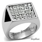 MEN'S PAVE ROUND CUT CUBIC ZIRCONIA SILVER STAINLESS STEEL RING SIZE 8-13