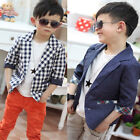 Kids Toddlers Boys Cool Outwear Plaid Check Dots Casual Suits Jacket Coat  2-7Y