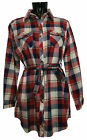 NEW Womens Ladies Checked Long Top TARTAN Shirt CASUAL Dress Collared SIZE S M L