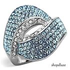 STUNNING AQUAMARINE AAA CZ SILVER STAINLESS STEEL FASHION RING WOMEN'S SIZE 5-10