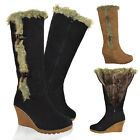 NEW LADIES WOMENS MID WEDGE HEEL FUR LINED WARM WINTER KNEE HIGH CALF BOOTS SIZE