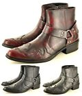 Mens Gents Pointed Toe Full Zip Western Cowboy Ankle Boots Size 6 7 8 9 10 11 12
