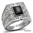 MEN'S JET BLACK PAVE SIMULATED DIAMOND SILVER STAINLESS STEEL RING SIZE 8-13