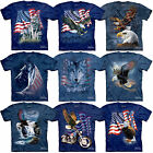 Patriotic T-Shirts American Flag USA Independence Day Eagle Wolf Mountain S-3XL