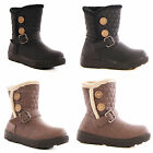 LADIES WOMENS SNOW FUR LINED CHUNKY SOLE BUTTON WINTER FLAT BOOTS SHOES SIZE 3-8
