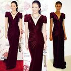 Elegant Red Velvet Formal Wedding Evening Prom Long Women Deep V-Neck Dress