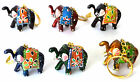Elephant Keychain Hand Made Painted Key Ring Trunk Up = Lucky Red Blue Green