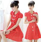 Women Vintage Double-breasted Wave Point Polka Dots Red Dress Dresses With Belt