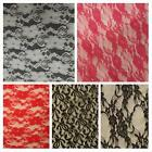 1 yard 4-way 2 way black off white , hot pink stretch lace fabric SHIP FROM USA