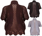 Womens Short Sleeves Ladies Crochet Open Knit Cropped Bolero Shrug Top Plus Size