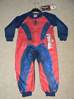 BOYS MARVEL SPIDERMAN RED & NAVY FLEECE ALL IN ONE SLEEPSUIT ONESIE  PYJAMAS
