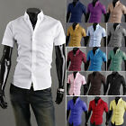 New 16 Colors Men Short Sleeve Solid Color Casual Slim Fit Dress Shirts MCS020
