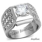 MEN'S ROUND CUT SIMULATED DIAMOND SILVER STAINLESS STEEL FASHION RING SIZE 8-14