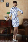 Chinese clothing cheongsam dress gown qipao Blue white fabric 140401 long sleeve