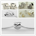 925 Solid Silver Love MOM Mother's Day Bead fit European Charm Bracelets