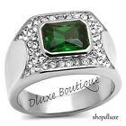 MEN'S 3.50 CT EMERALD CUT GREEN EMERALD CZ SILVER STAINLESS STEEL RING SIZE 8-13