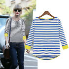 Women Casual T-shirt Stripe Blouse Long Sleeve Basic Top Blouse