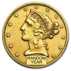 $5 Liberty Gold Half Eagle Coin - Random Year - Cleaned - SKU #9122