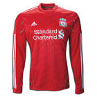 ADIDAS LIVERPOOL FC LONG SLEEVE HOME JERSEY 2010/12 BARCLAYS PREMIER LEAGUE.