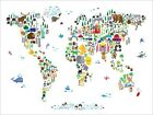 Animal Map of the World for Children and Kids, Art Print Poster - s61