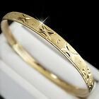 Ladies 6mm 14K GOLD ep DIAMOND CUT BANGLE ~SZ MEDIUM + LIFETIME GUARANTEE
