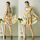 New Yellow people print fit and flare dress