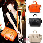 Korean Style Vintage Celebrity Women PU Leather Tote Handbag Orange Shoulder Bag