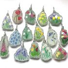 """Hand painted miniature art sea glass flower necklaces - 18"""" cord wire wrapped"""