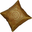 "INDIAN 17"" 43cm Cushion Covers Gold Yellow Banarasi Elephant Peacock Scatter NEW"