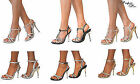 LADIES DIAMANTE GLITTER STRAPPY ANKLE SANDALS SHOES HIGH HEELS WEDDING BRIDAL