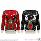 LADIES MENS REINDEER CHRISTMAS SNOW FLAKES RUDOLF WOMENS XMAS KNITTED JUMPER TOP
