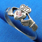 Claddagh Ring, Natural Pink Sapphire, Hand Crafted Sterling Silver, September